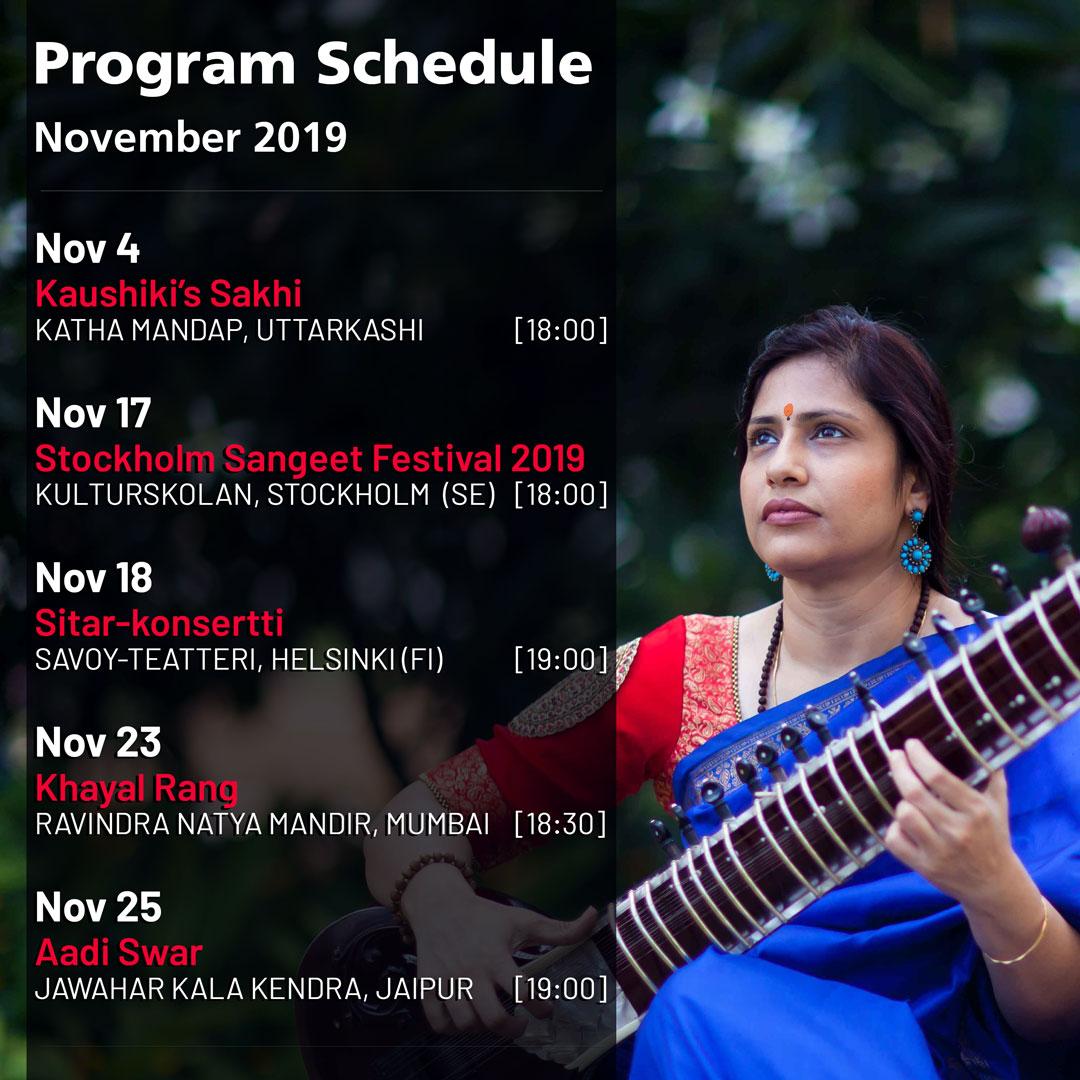 Anupama Bhagwat - Schedule: November 2019